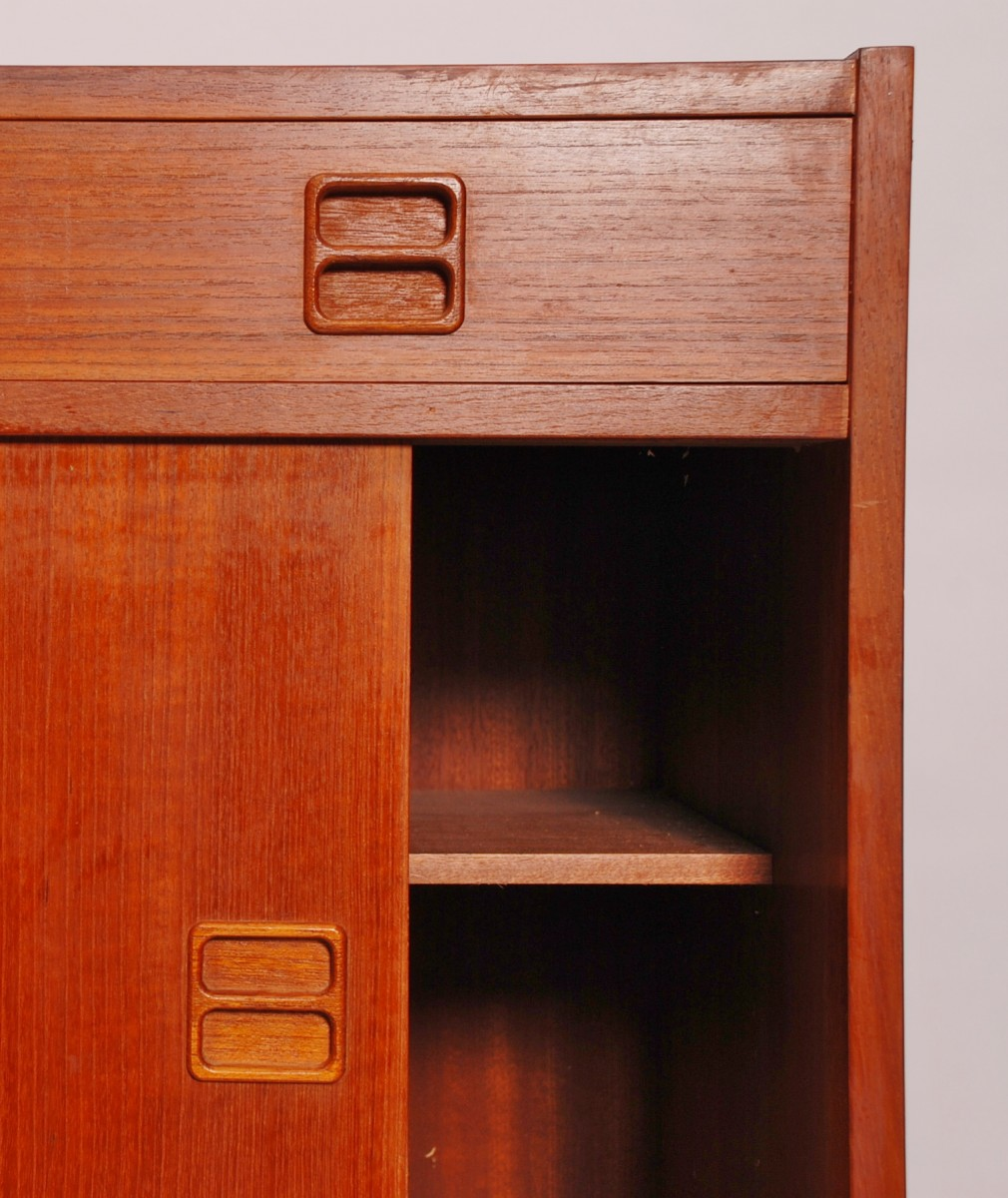 Vintage Teak Veneer Cabinet Denmark Mid Century Willem Koolmees